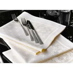 serviette-de-table-coton-damasse-floral-champagne-lilium