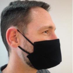 10 Masques barrière en tissu noir léger - 25 lavages