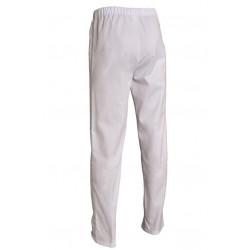 Pantalon de cuisine mixte blanc à taille élastiquée - Petit prix