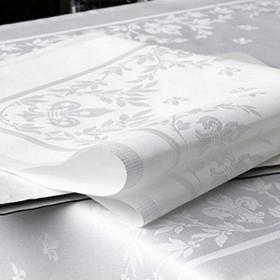 serviette-table-coton-fleur-de-lys-blanc