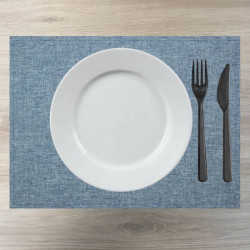 set-restaurant-tissu-polyester-bleu