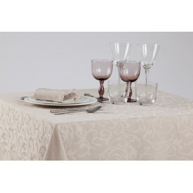 IPANEMA - Nappe damassé motifs floraux 100% polyester - 230 gr/m²