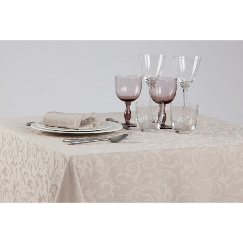 Nappe restaurant sur-mesure en polyester à motif floral damassé
