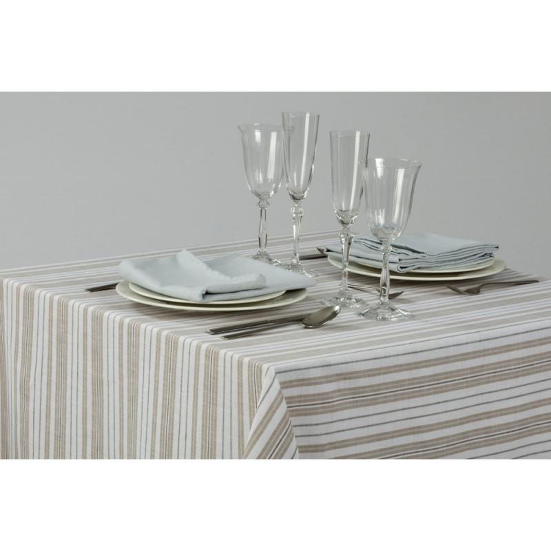 Echantillon tissu - KEFREN pour linge de table en lin rayé